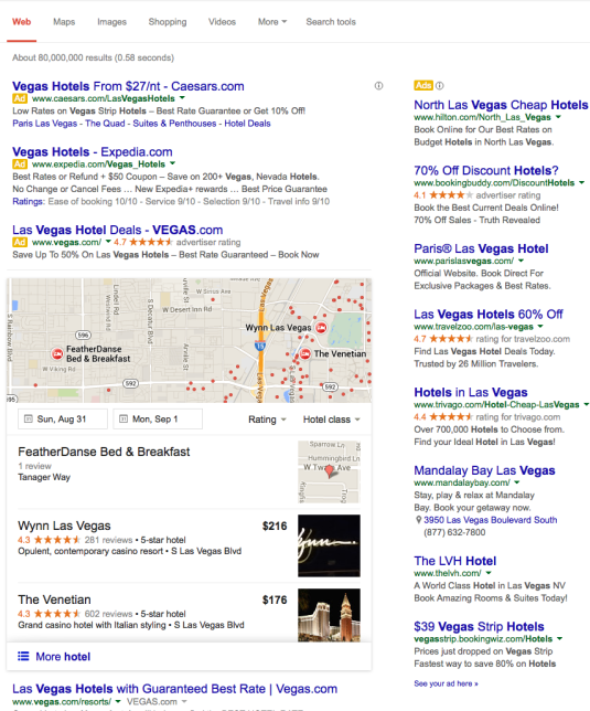 Google Local Carousel Hotel Results