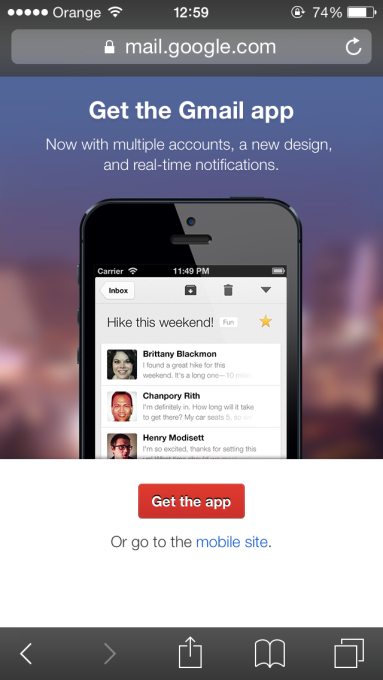Gmail App Download Interstitial