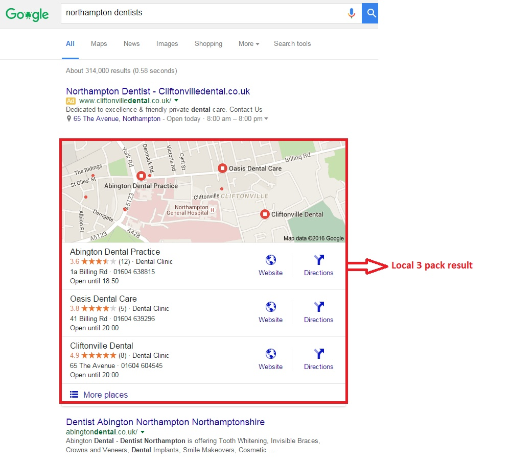 This image shows the 3 pack result of Google search