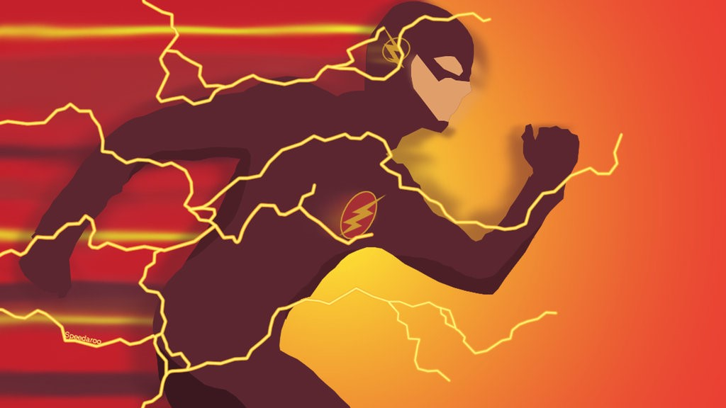 This image is a representation of node.js with superhero Flash