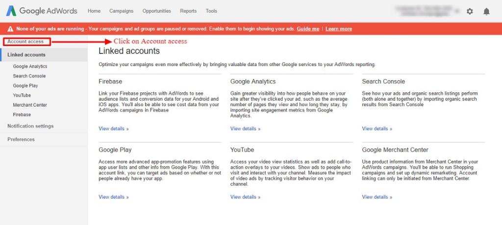 adwords account access