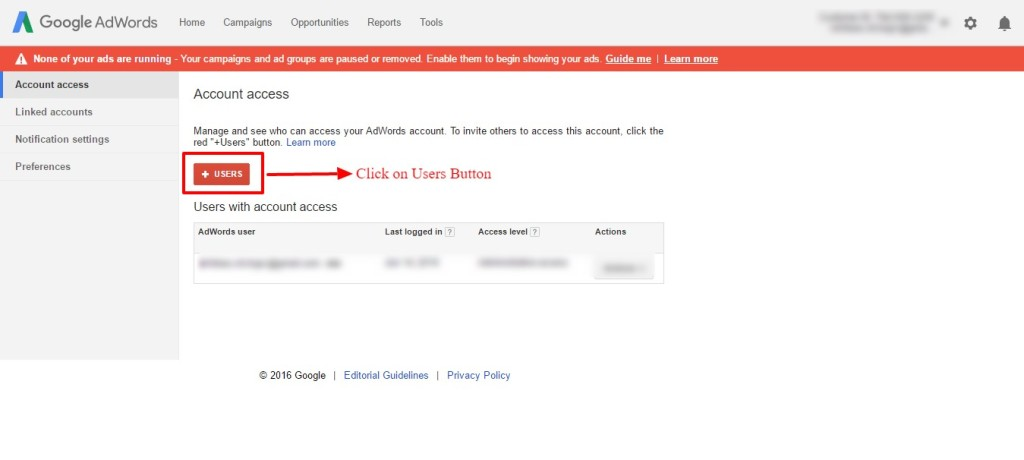 users button adwords setting