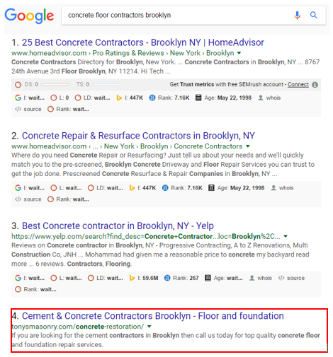 google serp ranking