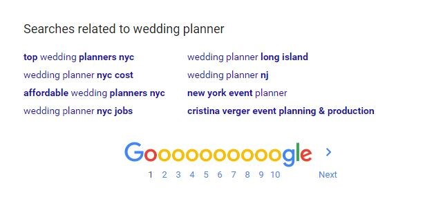 related searches on Google