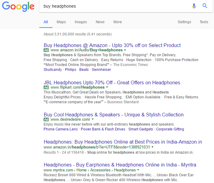 Google search result showing e-commerce websites