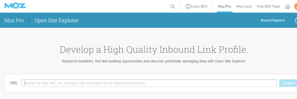 The interface of open site explorer tool by Moz