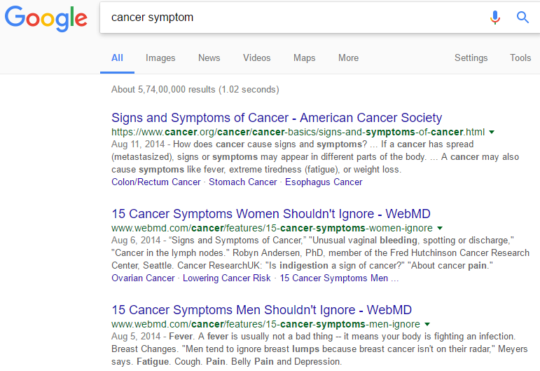 Google search result for cancer cure