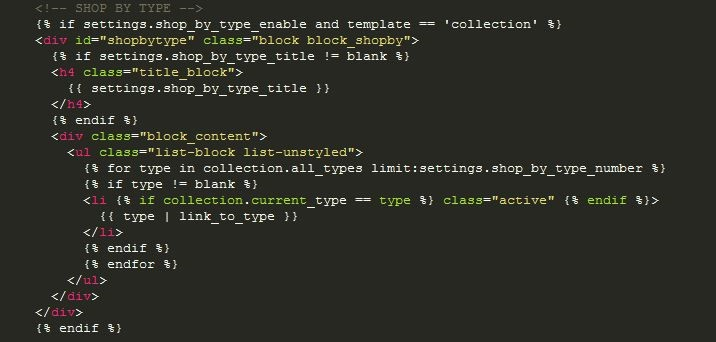 HTML Code for setting up shop by type filter