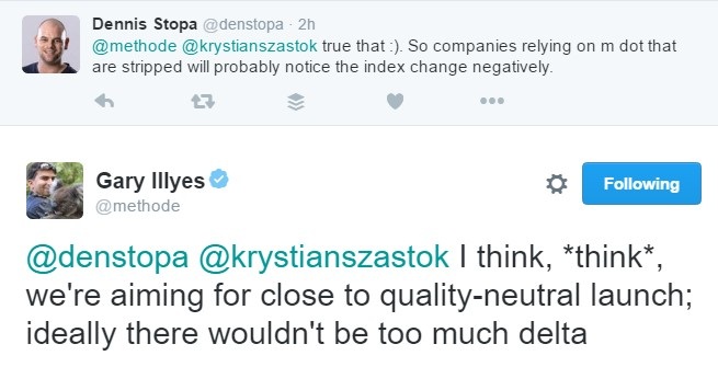 Twitter exchange by Gary Illyes About mobile version of websites