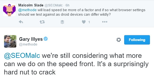 Twitter exchange by Gary Illyes on Load time as ranking factor for mobile websites