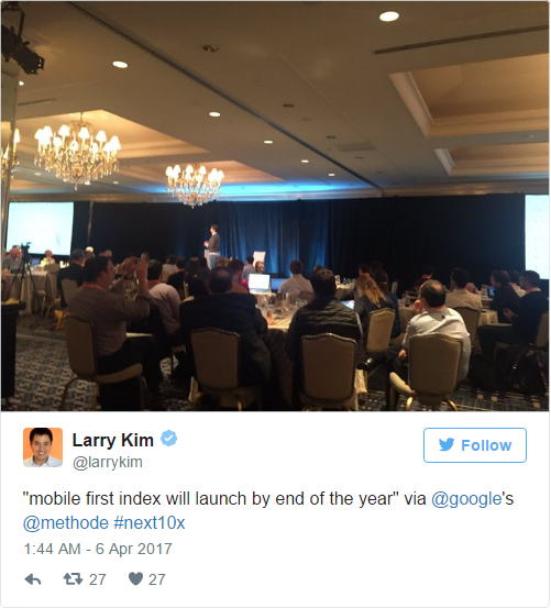 Tweet on Larry Kim on delay of mobile first index update