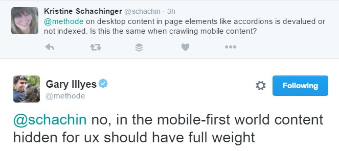 Twitter exchange by Gary Illyes on content crawling for mobile sites.
