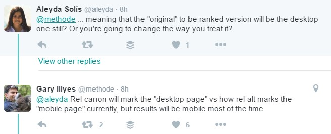 Twittter thread on ranking version of mobile pages