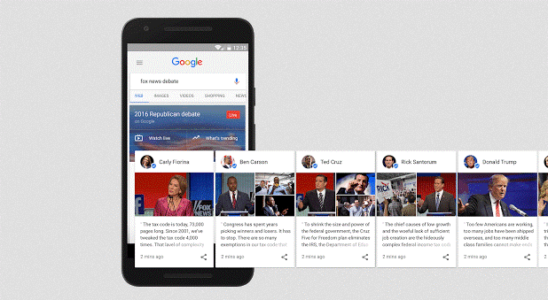 Candidate cards by Google