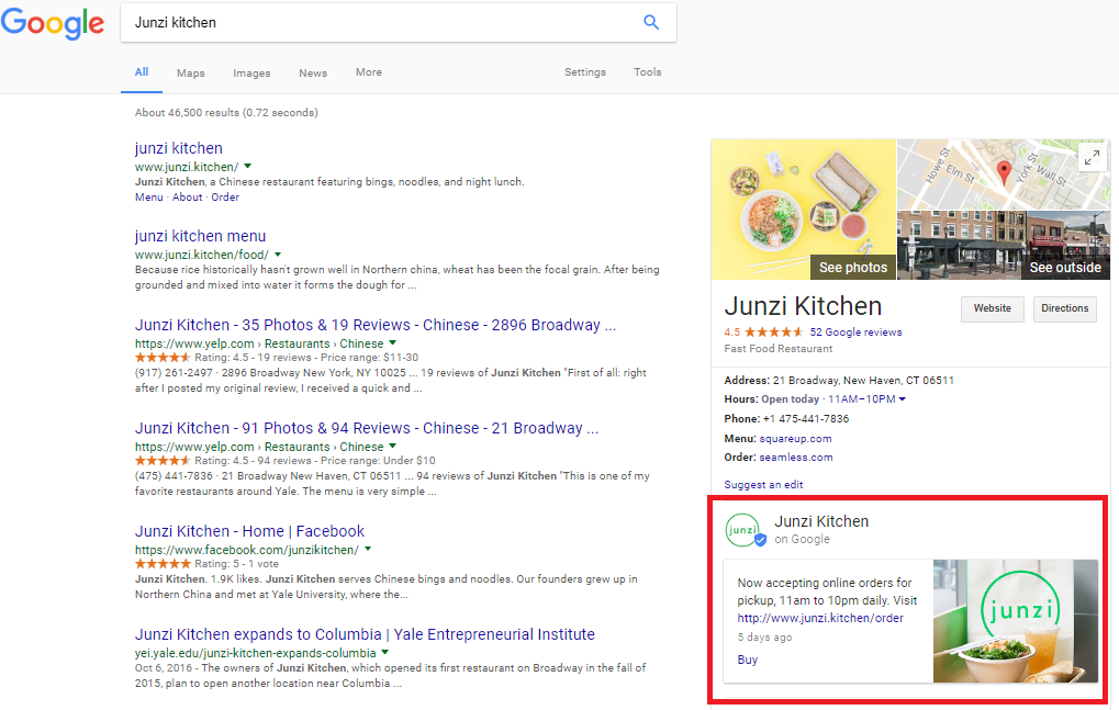 Google post for desktop users