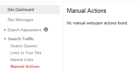 A webmaster property without any manual action